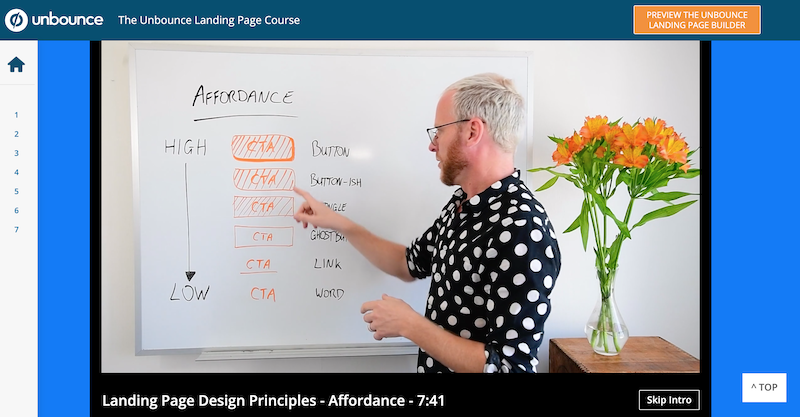 digital marketing skills unbounce landing page course