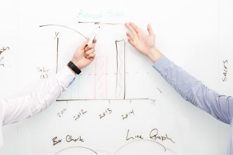 two people working on a white board