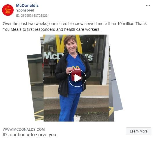 McDonald's Facebook ad