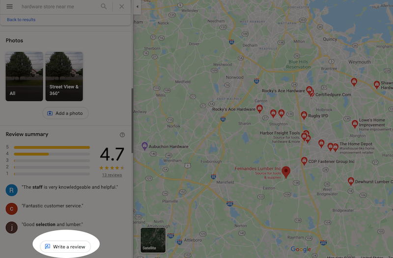 rank higher on google maps leave a review